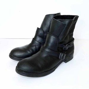 ash reverso black leather ankle moto boots - size 40